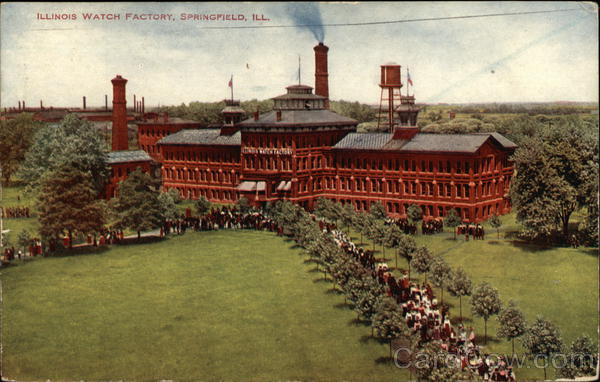Bird's Eye View of Illinois Watch Factory Springfield