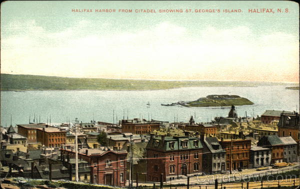Halifax Harbor from Citadel showing St George's Island Canada