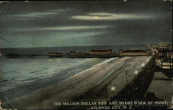 The Million Dollar Pier and Board Walk at Night Atlantic City New Jersey