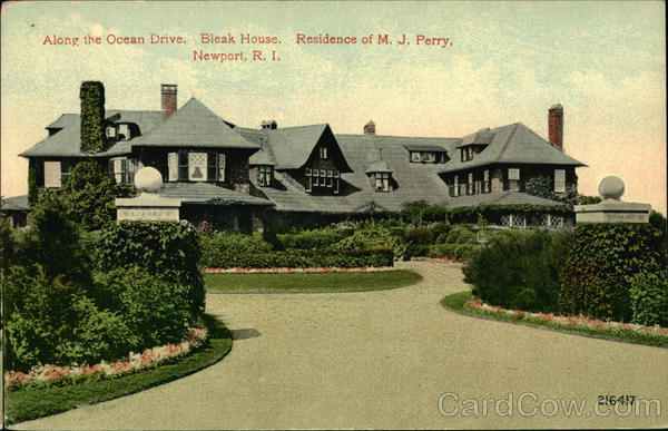 Along the Ocean Drive, Bleak House, Residence of MJ Perry Newport Rhode Island