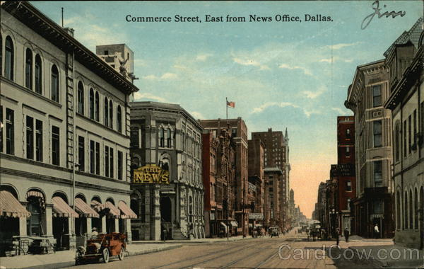 Commerce Street, East from News Office Dallas Texas