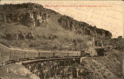 Limited Crossing Johnson's Canyon at Mouth of Tunnel Postcard