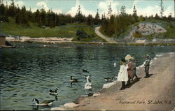 Children and Geese on the Shoreline at Rockwood Park