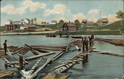 Sluicing Logs on Sebec River
