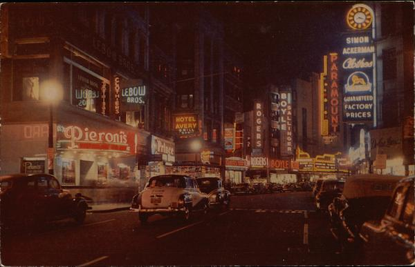 Theatre District at Night, looking North on Washington Street Boston Massachusetts