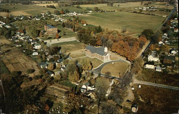 Air View of Pierce Memorial Free Methodist Church and Roberts Wesleyan College North Chili New York