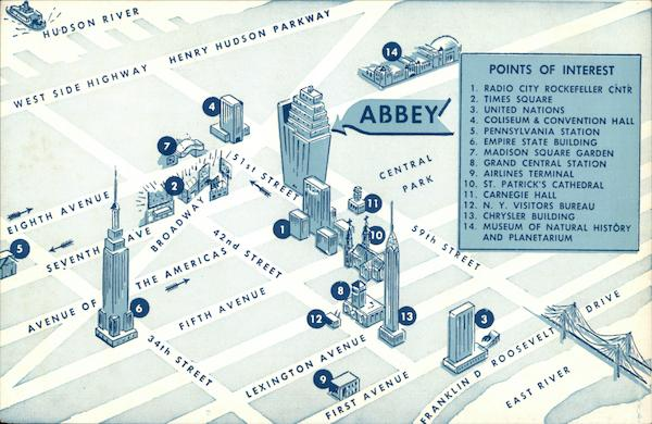 Abbey Hotel - Location Map New York