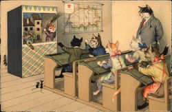 Cats Watching Punch and Judy Play