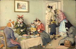 Cats in Human Clothing waiting at the Dentist's Office