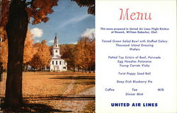 United Air Lines Menu - View of New England Church
