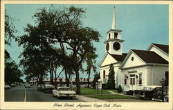 Cape Cod Main Street showing First Baptist Church - Founded in 1771 Postcard