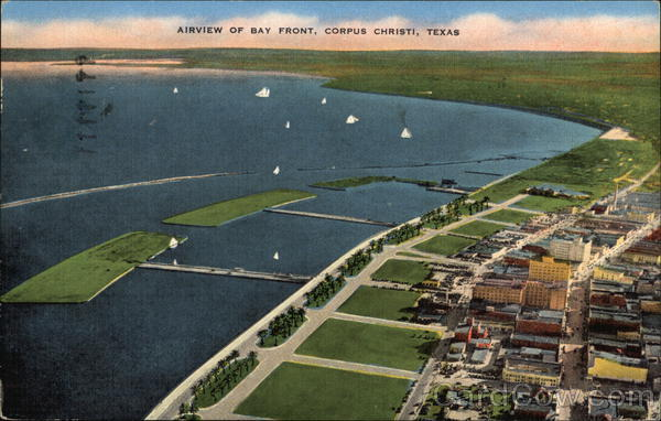 Airview of Bay Front, Corpus Christi Texas