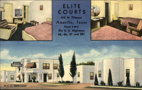Bedrooms and View of Building, Elite Courts Amarillo Texas