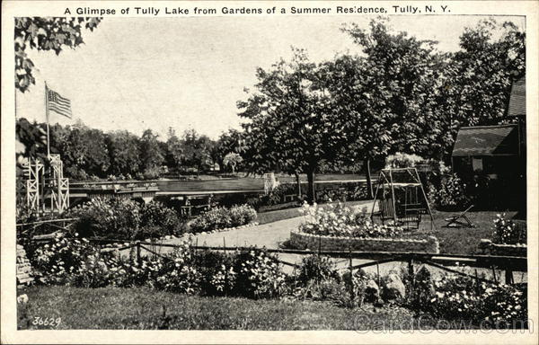 A Glimpse of Tully Lake from Gardens of a Summer Residence New York