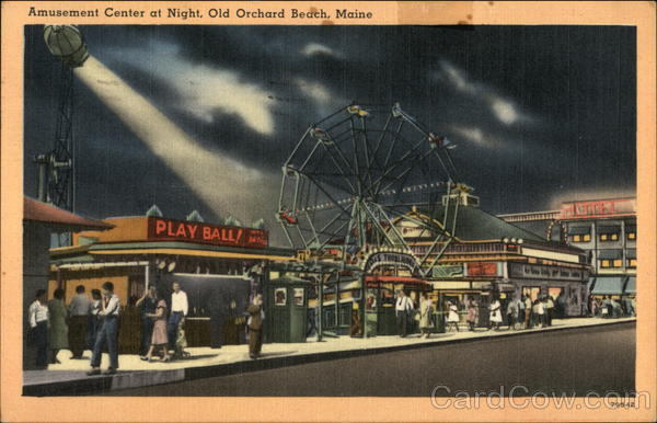 Amusement Center at Night Old Orchard Beach Maine