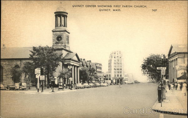 Quincy Center Showing First Parish Church Massachusetts
