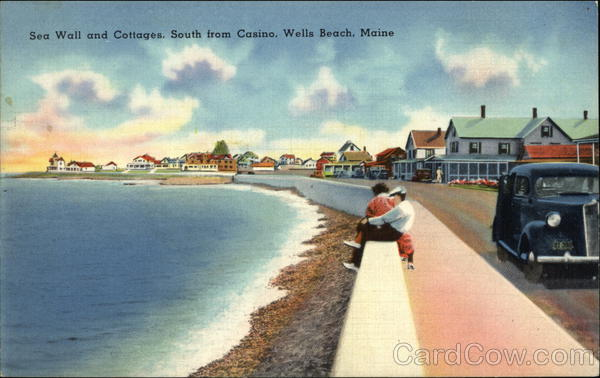 Sea Wall And Cottages Wells Beach Me Postcard