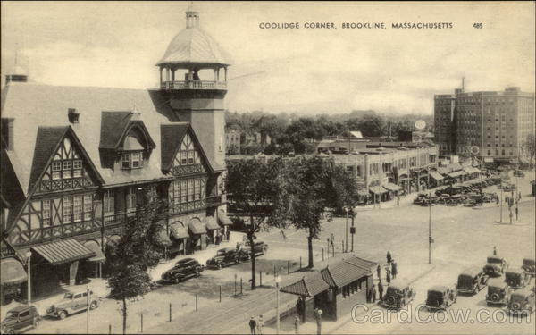 Aerial View of Coolidge Corner Brookline Massachusetts