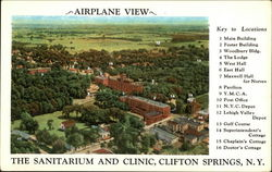 Airplane View of The Sanitarium and Clinic Postcard