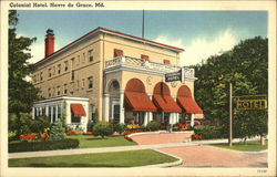 Street View of Colonial Hotel Postcard
