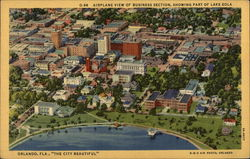 "Airplane View of Business Section, Showing Part of Lake Eola - ""The City Beautiful"""