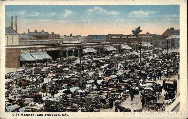 Bird's Eye View of Crowded City Market Los Angeles California