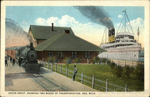 Union Depot, showing two Modes of Transportation Soo Michigan