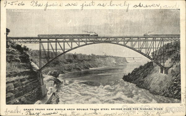 Grand Trunk New Single Arch Double Track Steel Bridge Buffalo New York