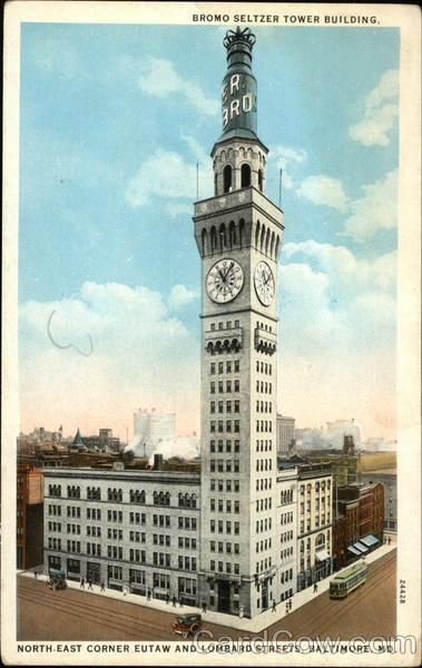 Bromo Seltzer Tower Building, North East Corner Eutaw and Lombard Streets Baltimore Maryland