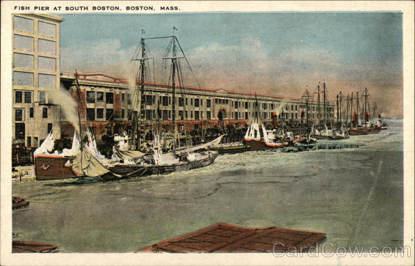 Boats along the Fish Pier Boston Massachusetts