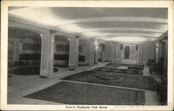 Loew's Orpheum Club Room - The Handsomest Theatre in the World Boston Massachusetts