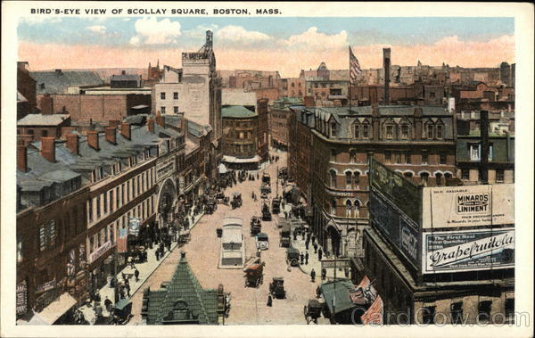 Bird's Eye View of Scollay Square Boston Massachusetts