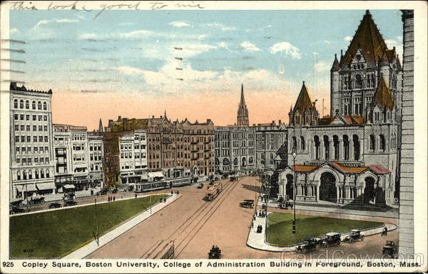Copley Square, Boston University, College of Administration Building in Foreground Massachusetts