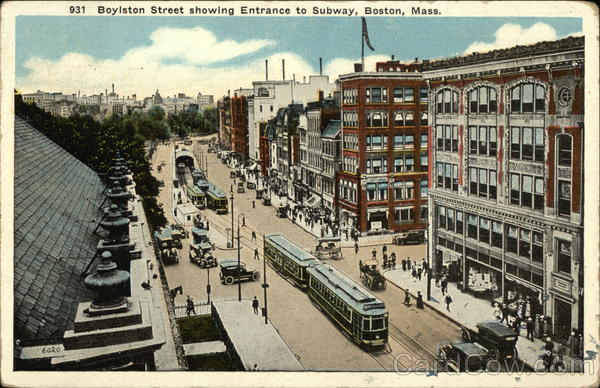 Boylston Street Showing Entrance to Subway Boston Massachusetts