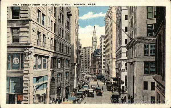 View of Milk Street from Washington Street Boston Massachusetts