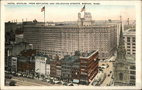 Hotel Statler, from Boyleston and Arlington Streets Boston Massachusetts