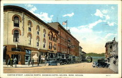 Center Street, Looking North, Showing Hotel Golden Postcard