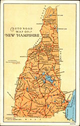 Auto Road Map of New Hampshire Postcard