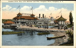 Hudson River Day Line Steamer and Pier at Kingston Point