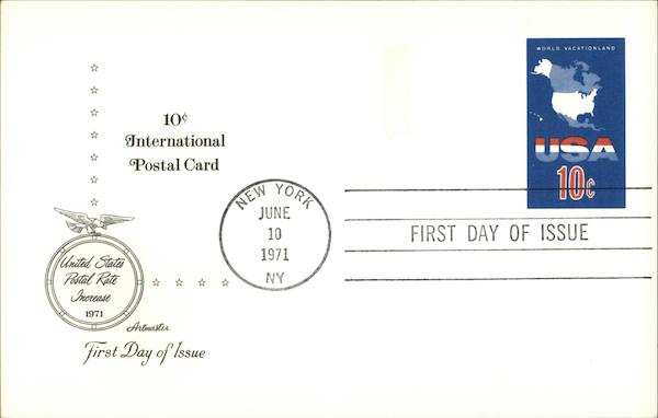 10cent International Postal Card First Day Issue Cards