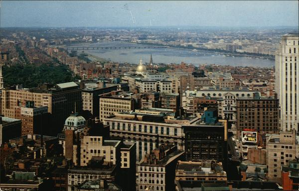 View of City and Charles River from Custom House Tower Boston Massachusetts
