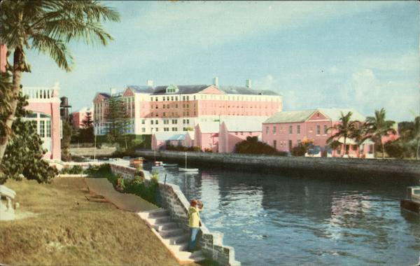 Picturesque View of The Princess Hotel and Cottage Colony from Pitts Bay Pembroke Parish Bermuda