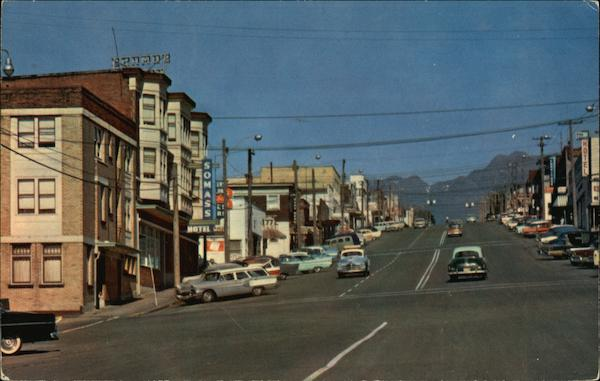 Argyle Street with Mt Arrowsmith in the Background Port Alberni Canada
