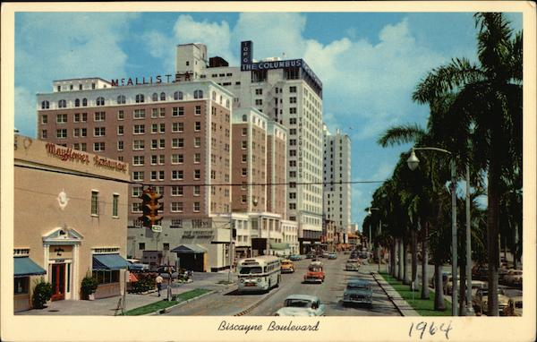 Beautiful Biscayne Boulevard looking North towards famous Hotel Row Miami Florida