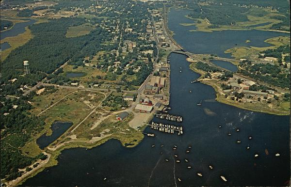 Aerial View of Cape Cod - River and Main Street Wareham Massachusetts