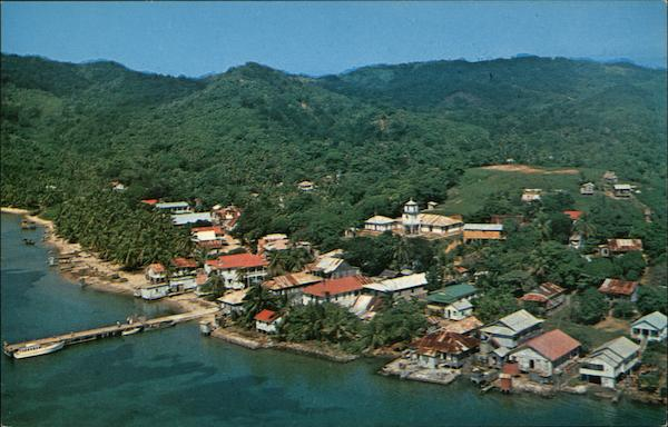 Aerial View of Town Roatan Honduras Central America