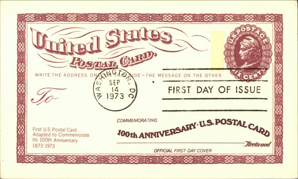 100th Anniversary US Postal Card First Day Issue Cards