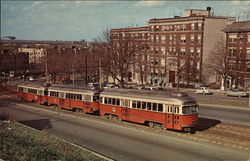 Three CAr Rush Hour Train of PCC Cars along Commonwealth Avenue