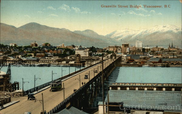 Bird's Eye View of Granville Street Bridge Vancouver Canada