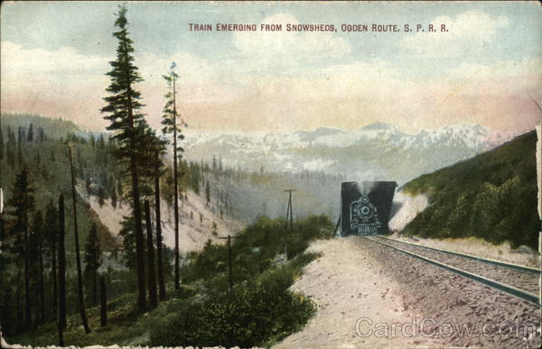 Train Emerging From Snowsheds, Ogden Route, S. P. R. R. Utah